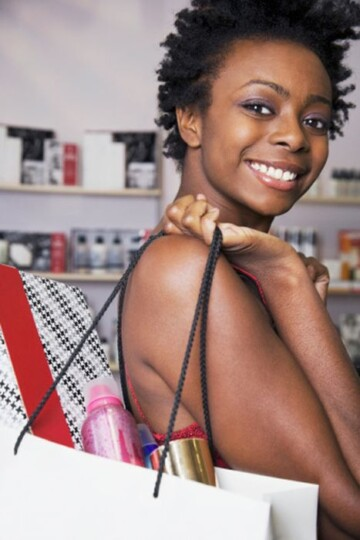 african shopping girl with bags