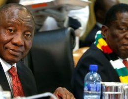 DZALEU.COM : African Lifestyle Magazine : Cyril Ramaphosa and Emmerson Mnangagwa during Mugabe national homage at Harare