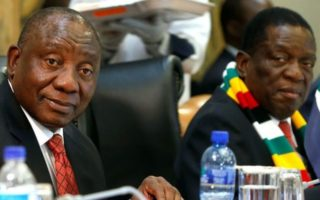 DZALEU.COM : African Lifestyle Magazine : Cyril Ramaphosa and Emmerson Mnangagwa during Mugabe national homage at Harare