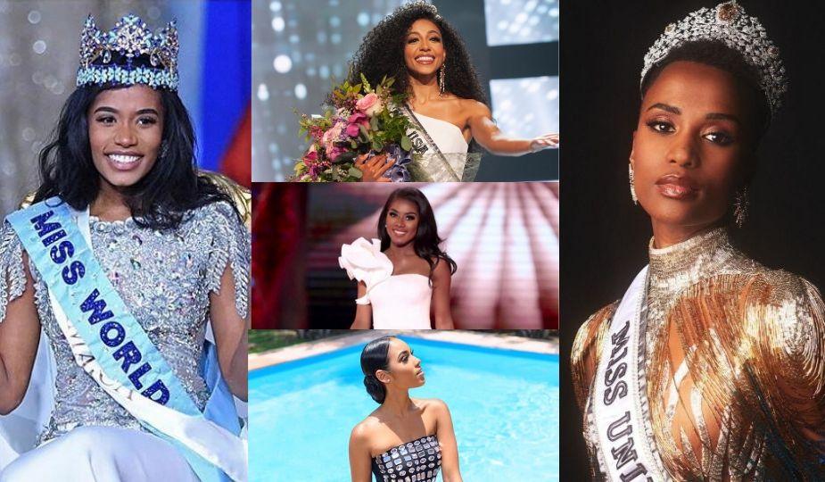 Miss World (Toni-Ann Singh, Jamaique), Droite : Miss Universe 2019 (Zozibini Tunzi, Afrique du Sud) Milieu, de haut en bas : Cheslie Kryst, Miss Usa 2019, Nia Franklin, Miss America 2019, Clémence Botino, Miss France 2020
